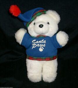 VINTAGE DAN DEE SANTA PAWS CHRISTMAS WHITE TEDDY BEAR STUFFED ANIMAL PLUSH TOY