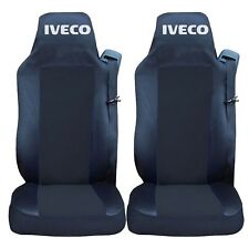 2x Seat Covers for Iveco Stralis Tailored HGV Truck Lorry Black/Black RHD