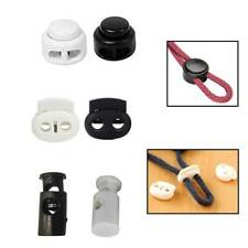 Toggle Cord Stopper Locks End Drawstring Plastic Spring Loaded & Hole Button UK
