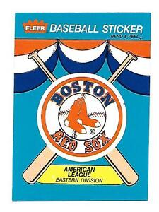 1989 BOSTON RED SOX FLEER BASEBALL CARD STICKER NM COND!