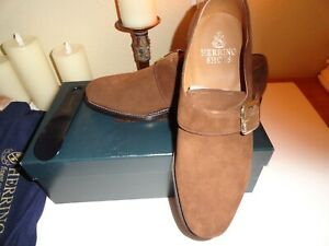 nib hand made in England HERRING brown suede monk strap uk 8.5 us size 9.5
