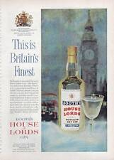 "1963 Booth's Dry London GIN Vintage Bottle ""Big Ben"" PRINT AD"