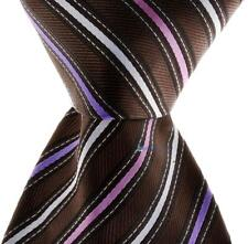 Brown Hand Woven 100% Pure Silk Neck Tie with Pink, White and Purple Stripe