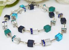Würfelkette Halskette Collier Polaris Glas Strass dunkelblau türkis petrol  288a