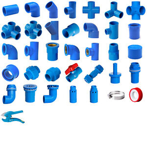 Blue PVC 25mm ID Pressure Pipe Fittings Metric Solvent Weld Various Parts