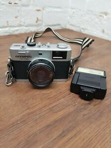 Vintage Olympus 35 RC 35mm Rangefinder Camera Zuiko Lens Vivitar flash