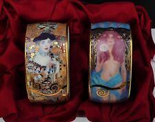 2 Gustav Klimt Porzellan Serviettenringe mit edlem Motiv - Ohne OVP !!! Nr.2