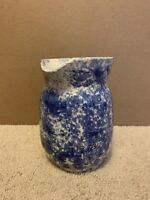 "Vintage Blue Spatterware Art Pottery Jug Creamer Pitcher Vase 5-1/4"" Stoneware"
