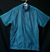 Nike Golf Mens Pullover Lined Short Sleeve Blue Jacket Shirt 1/4 Zip Neck Size M