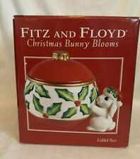 Fitz And Floyd Christmas Bunny Blooms Lidded Box With Original Box