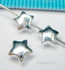 8x STERLING SILVER BRIGHT PUFF STAR SPACER BEAD 5.3mm #1009