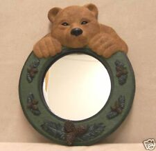 ADORABLE BEAR PEEKING OVER MIRROR  WOODSY  SO CUTE GREEN AND BROWN NEW