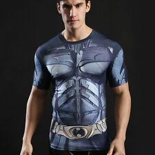 Men's Marvel T Shirt Compression Under Skin Tight Top Sport Superman Fit Jersey