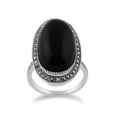 Ringe mit Edelsteinen im Cocktail-Stil echten Onyx