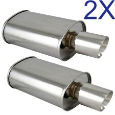 2X Polished Spun-locked Exhaust Oval Muffler Double Wall Slant Tip for Scion