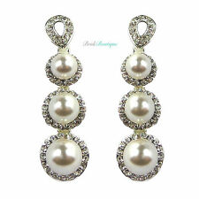 Vintage Style Silver Crystal & Pearl Drop Dangle Dangly Wedding Earrings