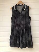 BLACK FRIDAY Black White Polka Dot Sleeveless Collared Fit & Flare Dress - 18