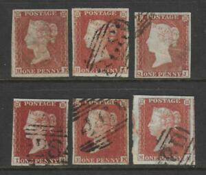 QV 1d Red Imperforate x 6 Stamps. 1844 type cancellations.