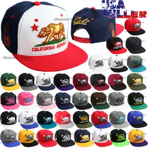 California Republic Hat Baseball Cap Snapback Adjustable Cali Bear Flat Bill Men