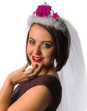 Hen Party 'bride To Be' White Fur Trim Tiara With Veil