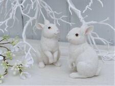 Osterhase Dekofigur Hase Kaninchen sitzend Creme Weiß Fellstruktur Shabby H.10cm