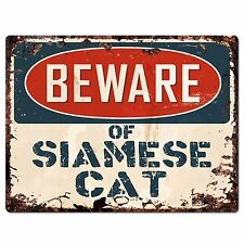 PP1537 Beware of SIAMESE CAT Plate Rustic Chic Sign Home Store Decor Gift
