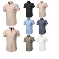 FashionOutfit Men's Casual Basic Button-Collar Chambray Short Sleeve Shirt