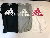 Adidas Crew Neck Logo Short Sleeves Graphic T-Shirt Girls NEW with Tags
