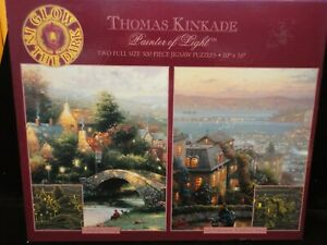 THOMAS KINKADE PAINTER OF LIGHT 2  500 PC PUZZLES LOMBARD ST & LAMPLIGHT VILLAGE