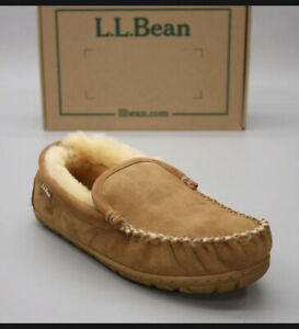 LL Bean Ladies 10 M Wicked Good Venetian Suede Moccasin Shearling Lined Slipper