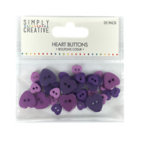 Simply Creative Plastic Heart Buttons - Shades of Purple - 35pcs