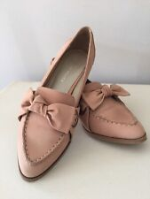 Karen Millen Nude Leather Pointed Loafer Type Shoes With Bow Size 37/ UK4