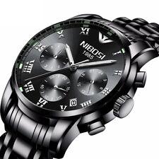 Herren Armbanduhr Edelstahl Analog Quarz Chronograph Uhr Datum 3ATM wasserdicht