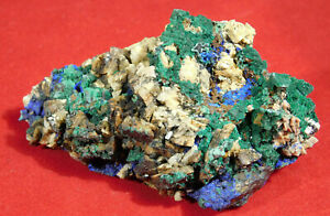 A 100% Natural Green Malachite! Cluster with BLUE Azurite! From Morocco 101gr