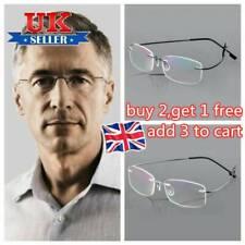 Memory Titanium Reading Glasses Rectangular Ultralight Rimless Eyeglass Unisex