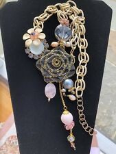 Vintage Chic Enamel Crystal Gold Tone Link Chain Fashion Statement Necklace