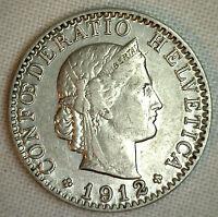 1912 B Switzerland 20 Rappen KM# 29 Nickel AU World Coin