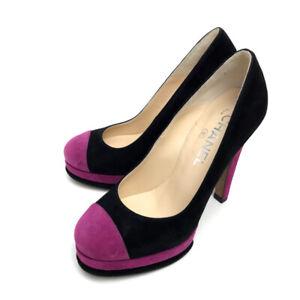 CHANEL Bicolor Heels Black/Pink Suede