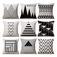 Black And White Geometry Cotton Linen Pillow Case Sofa Car Throw Cushion Cover