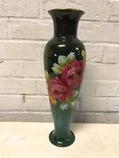 Antique Royal Bonn Franz Anton Mehlem German Pottery Vase Hand Painted Roses Dec
