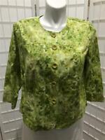 Women's Coldwater Creek XL(16) Tea Green  100% Cotton Floral  Button Crop Jacket