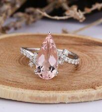 4Ct Pear Cut Morganite Simulant Diamond Solitaire Ring White Gold Finish Silver
