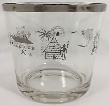 MCM Ranch House ICE BUCKET Clear Glass & Silver Grass Hut Igloo Tipi Log Cabin