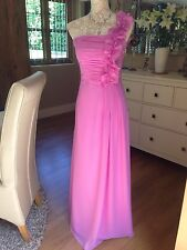 FUSHCIA PINK EVENING LONG BALL GOWN PROM BRIDESMAID ONE SHOULDER CRUISE DRESS 8