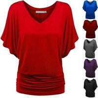 Womens Top Batwing Solid Causel Plus Size Fashion V Neck Sleeve Blouse T-Shirt