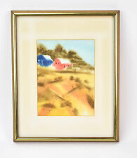 Mid-Century Abstract Landscape Watercolor Painting Victor Ing Chicago Artist