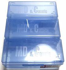 Lot of 3 Blue Mini Disc Storage Box MD Case fo 65 MDs 18 Cassette K7 INSURED F/S