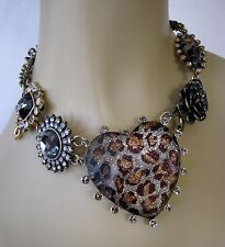 BETSEY JOHNSON LARGE SNOW LEOPARD LUCITE HEART CHOKER STATEMENT NECKLACE~RARE