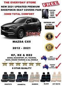 Mazda CX-5 KF 12-21 Premium Sheepskin Car Seat Covers Pair Airbag Safe 30MM