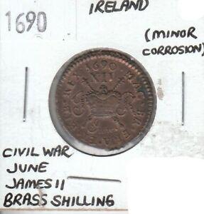 Ireland Civil War James II 1690 Brass Shilling - AU Almost Uncirculated